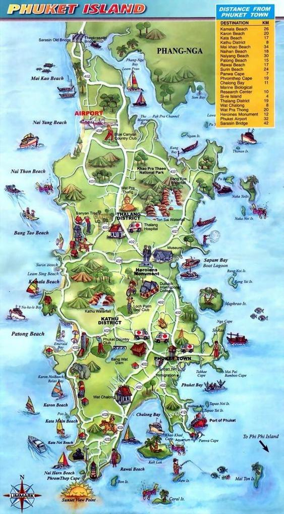 Карта Пхукета с пляжами, достопримечательностями