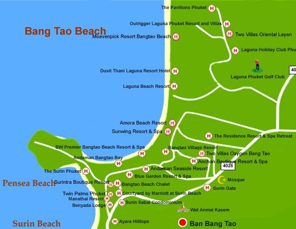 Пляж Банг Тао карта